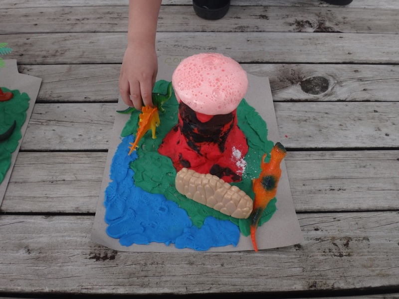 Home science experiment for kids: erupting volcano